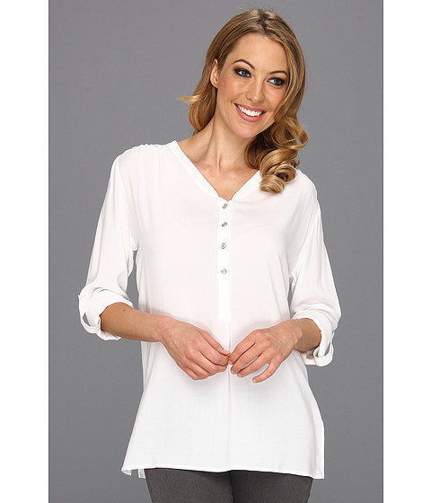 Bluze Karen Kane - Rolled Sleeve Side Slit Top - White