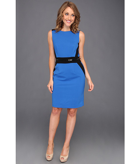 Rochii Calvin Klein - Sleeveless Belted Colorblock Sheath Dress - Venetian