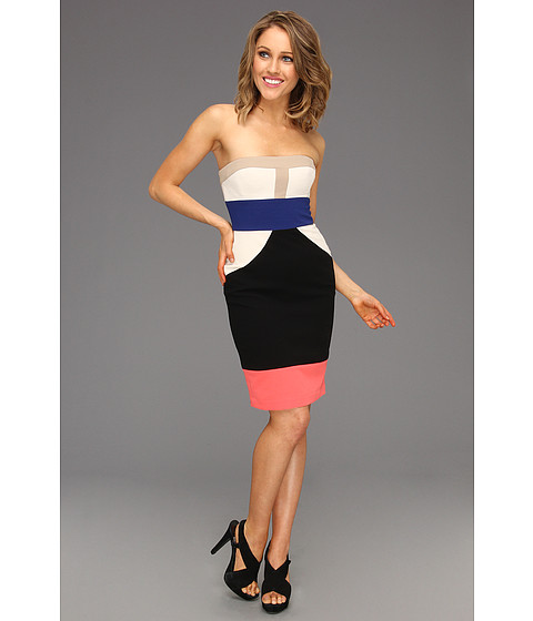 Rochii BCBGMAXAZRIA - Reese Strapless Colorblock Dress - Black/Combo