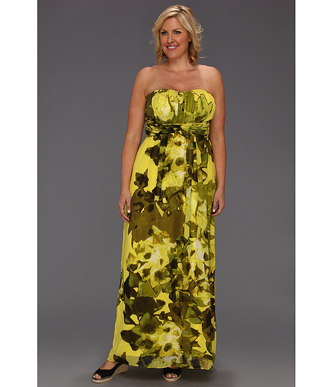 Rochii Jessica Simpson - Plus Size Sweetheart Drape Maxi Dress - Bleeding Heart Sulpher Spring