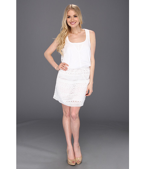 Rochii Jessica Simpson - Sleeveless Blouson Lace Contrast Dress - White