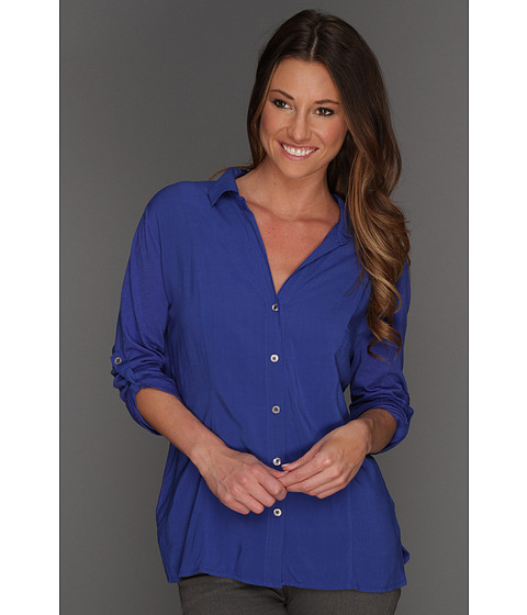 Bluze Vince Camuto - Mixed Media Button Up Shirt - Cobalt