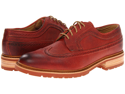 Pantofi Frye - James Lug Wingtip - Burnt Red Scotch Grain
