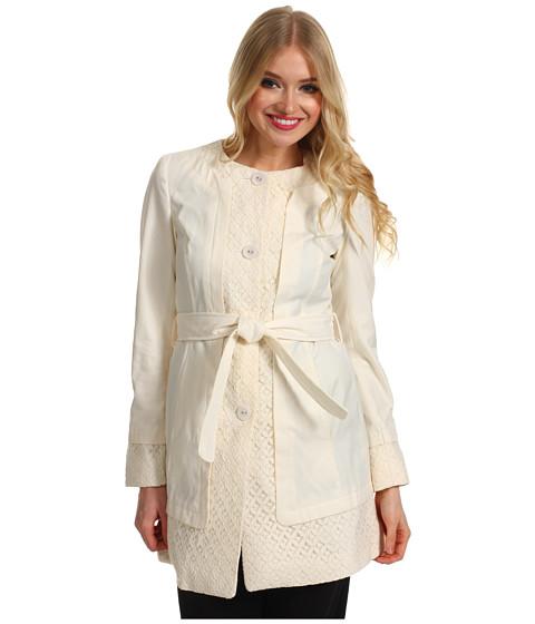Jachete Ivanka Trump - Collarless Lace Trim Trench - Antique White