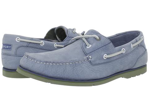 Pantofi Rockport - Summer Tour 2 Eye Boat Shoe - Light Blue Nubuck/Green