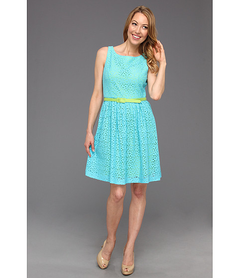 Rochii Jessica Howard - Belted Sundress with Open Back and Pop Lining - Turquoise/Green