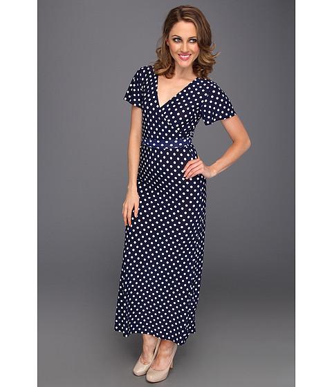 Rochii Christin Michaels - Leona Dress - Navy Dots Textile