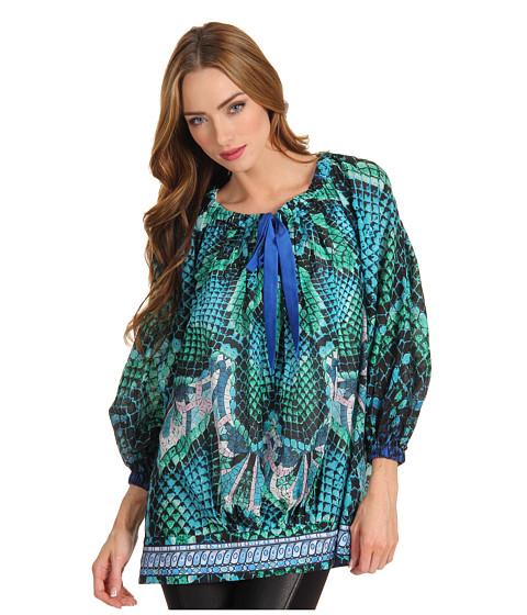 Bluze Just Cavalli - Atlantis Print Silk Muslin Blouse - Blue