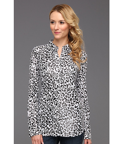 Camasi Roper - Animal Print Poly Jersey Shirt - Black