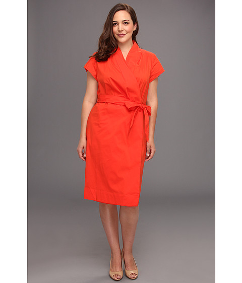 Rochii Anne Klein New York - Plus Size Wrap Shirt Dress - Carnelian