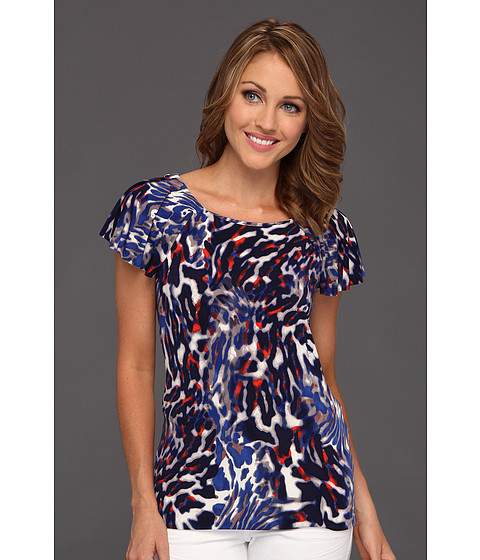 Bluze Anne Klein New York - Multi Animal Print Flutter Sleeve Top - Azure Multi