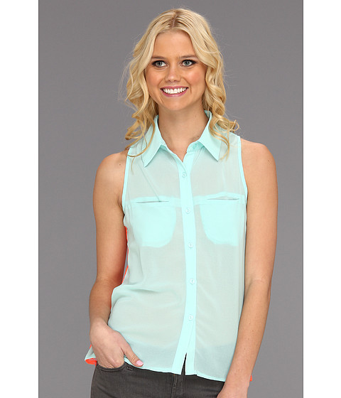 Tricouri Gabriella Rocha - Amitee Chiffon Tank w/ Lace Back - Light Blue