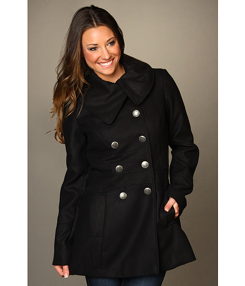 Jachete Jessica Simpson - Envelope Collar Double Breasted Coat - Black