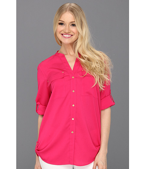 Tricouri Calvin Klein - Mock Neck Roll Sleeve Blouse - Hibiscus