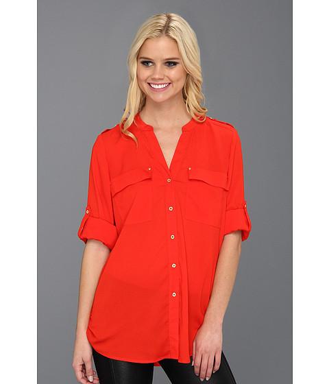 Tricouri Calvin Klein - Mock Neck Roll Sleeve Blouse - Tango Red