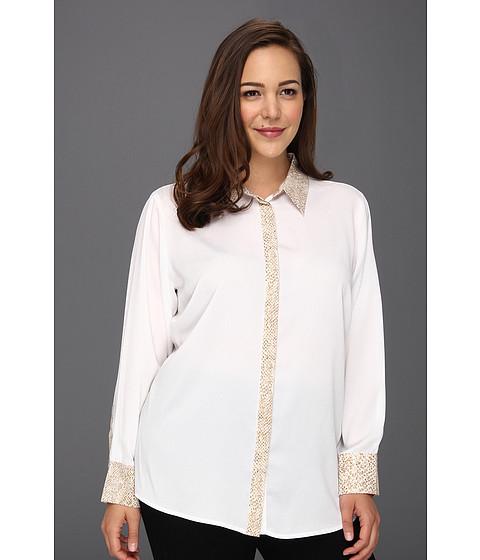 Tricouri Calvin Klein - Plus Size Combo Placket Blouse - Soft White