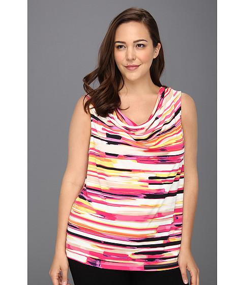 Tricouri Calvin Klein - Plus Size Painterly Stripes Printed Cowl Neck Top - Black/Hibiscus Multi