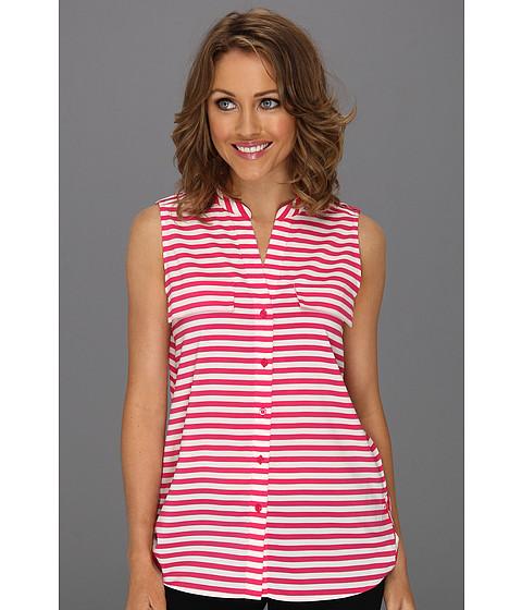 Tricouri Calvin Klein - Stripe Mock Neck S/L Blouse - Hibiscus/Ivory