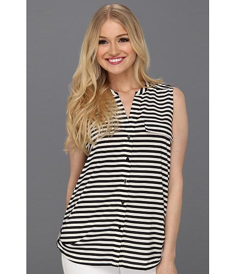 Tricouri Calvin Klein - Stripe Mock Neck S/L Blouse - Ivory/Black
