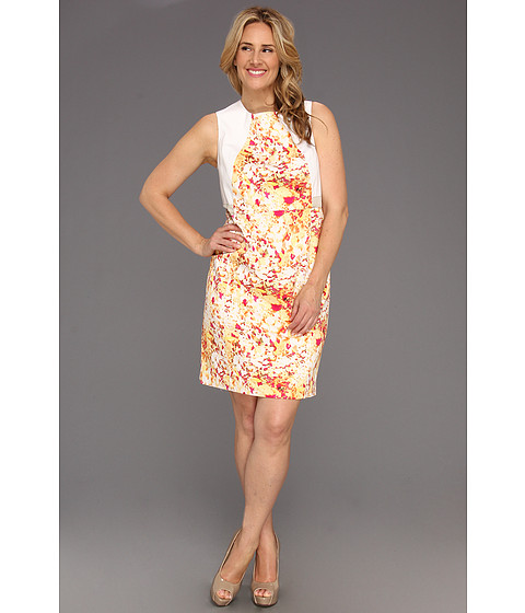 Rochii Calvin Klein - Plus Size Abstract Floral Seamed Shift Dress - Soft White Multi