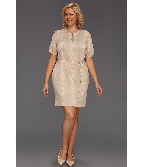 Rochii Calvin Klein - Plus Size Graphic Snake Elbow Sleeve Henley Dress - Soft White Multi