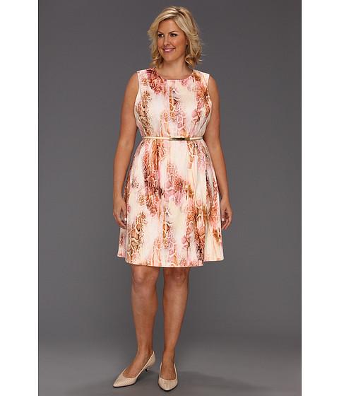 Rochii Calvin Klein - Plus Size Retro Skin Print Flare Dress - Hibiscus Multi