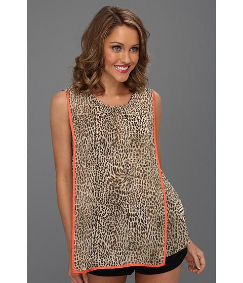 Bluze Vince Camuto - S/L Contrast Trim Cheetah Spots Blouse - Field Khaki