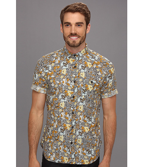 Camasi 7 For All Mankind - S/S Floral Shirt - Dark Tobacco