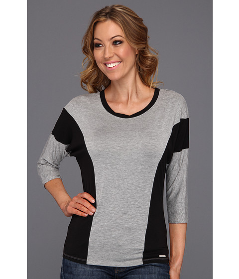 Bluze Michael Kors - 3/4 Sleeve Colorblack Top - Pearl Heather