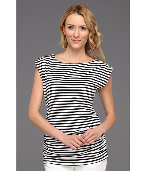 Tricouri Michael Kors - Jardin Stripe Short Sleeve Zip Top - White