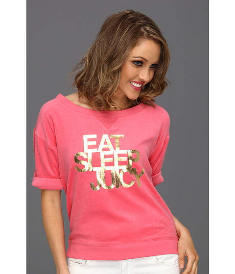 "Bluze Juicy Couture - ""Eat, Sleep, Juicy\"" Cozy Terry Pullover - Bombshell"