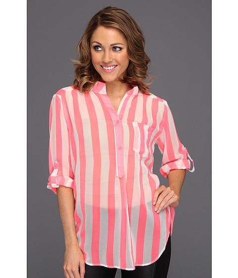 Bluze Gabriella Rocha - Maryse Stripe Chiffon Blouse - Neon Pink