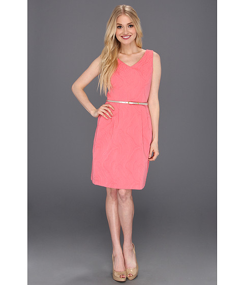 Rochii Ellen Tracy - Jacquard Fit And Flare Dress w/Belt - Coral