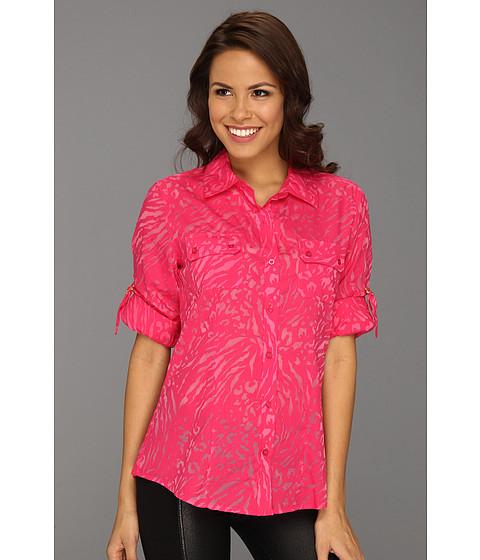 Tricouri Calvin Klein - Burnout Roll Sleeve Blouse - Hibiscus