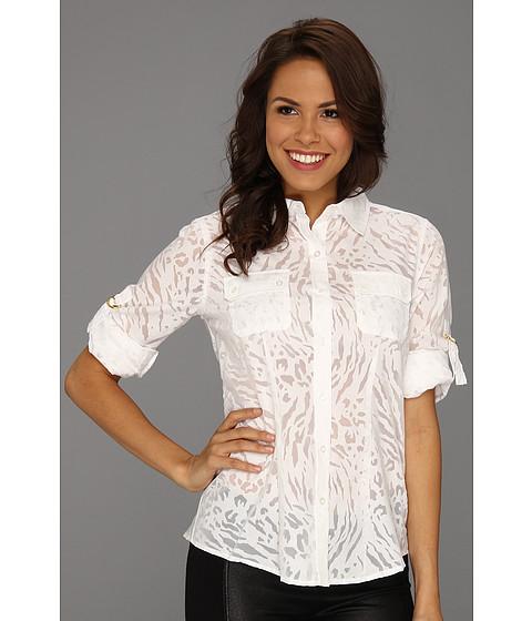 Tricouri Calvin Klein - Burnout Roll Sleeve Blouse - Soft White