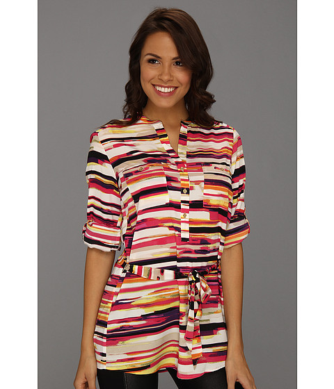 Tricouri Calvin Klein - Print Crew Roll Sleeve Blouse - Pink Multi