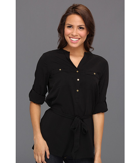 Tricouri Calvin Klein - Tab Roll Sleeve Blouse - Jet Black