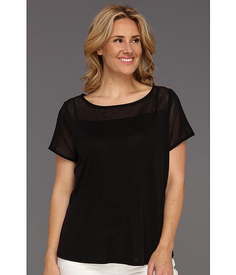 Tricouri DKNY - Plus Size S/S Boatneck Peplum Top w/ Mesh Yoke and Sides - Black