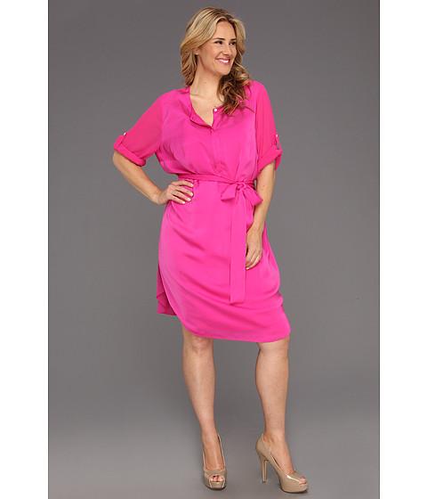 Rochii DKNY - Plus Size 3/4 Sleeve Half Placket Dress - Pink Tango/Pink Tango