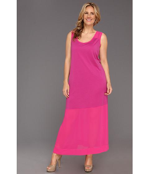 Rochii DKNY - Plus Size Sleeveless Dress w/ Chiffon Hem and Yoke - Pink Tango