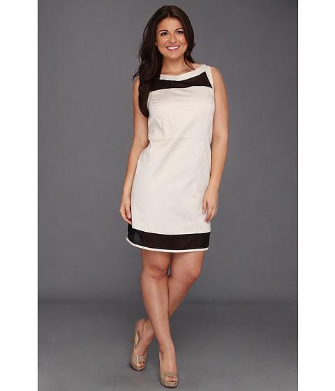 Rochii DKNY - Plus Size Sleeveless Dress w/ Mesh Yoke and Hem - Stone/Black