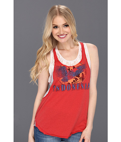 Bluze Free People - Lace and Stripe Graphic Tank - Red Combo