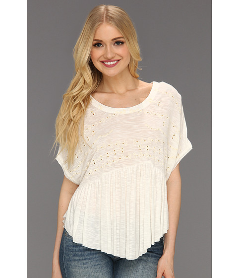 Tricouri Free People - Embroidered Boxy Top - Ivory
