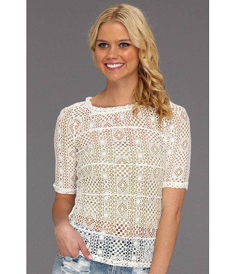 Tricouri Free People - Geolace Top - Ivory Combo