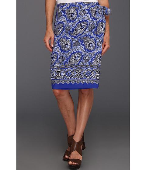 Fuste Anne Klein New York - Petite Paisley Print Sarong Skirt - Azure Multi