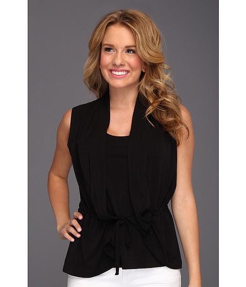 Bluze Anne Klein New York - Petite Solid S/L Tie Waist Top - Black