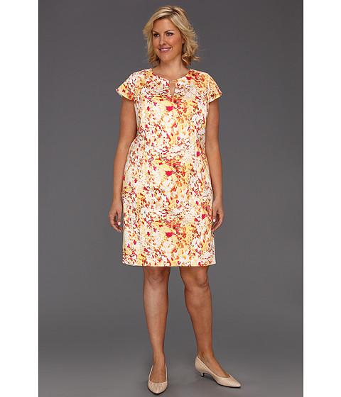 Rochii Calvin Klein - Plus Size Abstract Floral Cap Sleeve Dress w/ Hardware - Soft White Multi