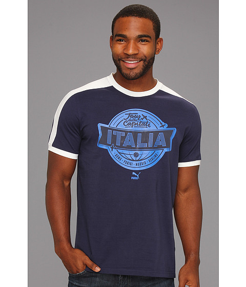 Tricouri PUMA - Football Archives T7 Ringer S/S Tee - Navy/Figc Italia