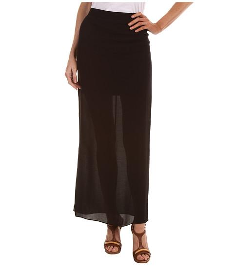 Fuste Tibi - Open Weave Rayon Gauze Long Skirt - Black