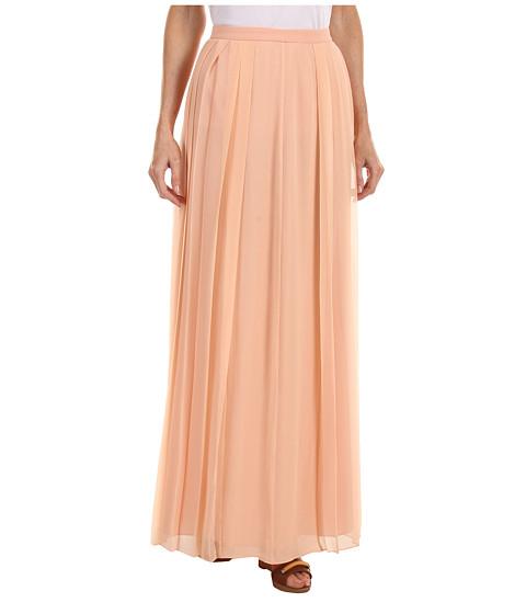 Fuste Tibi - Solid Silk Chiffon Pleated Skirt - Peach
